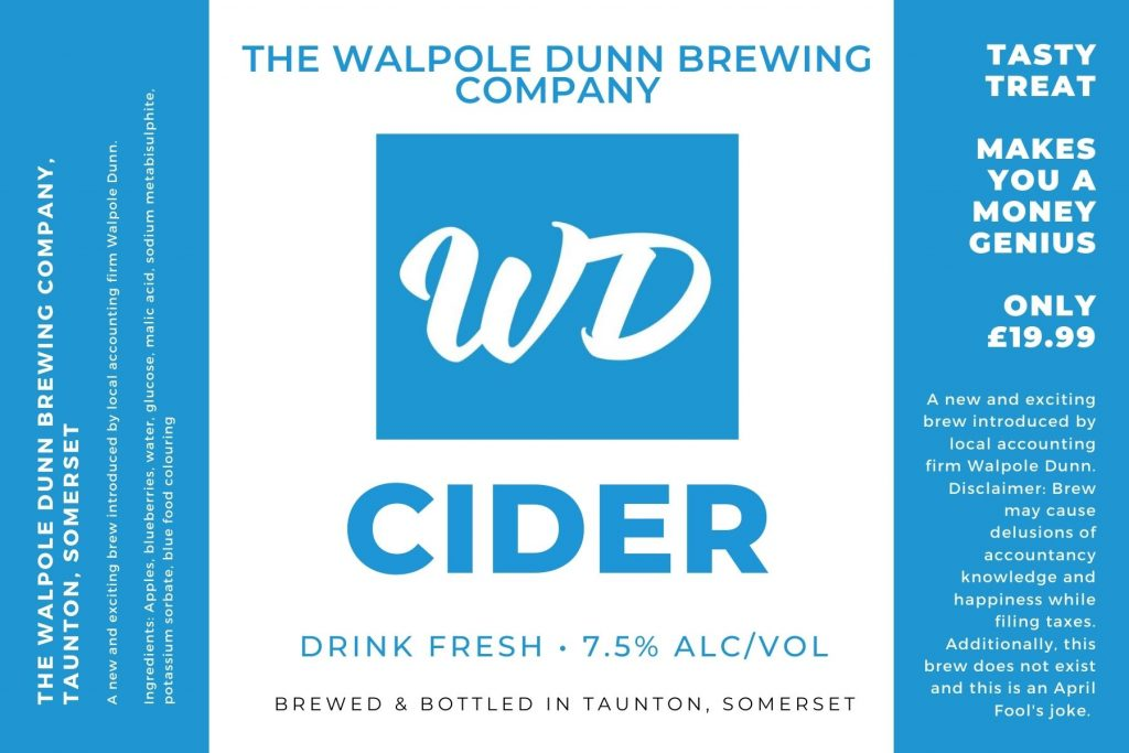 WD Cider bottle label by the Walpole Dunn brewing company