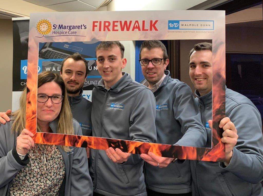 Walpole Dunn team at the firewalk